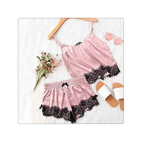 MOOPYS& Women Sexy Lingerie 2019 New Summer Sexy Babydoll Sleepwear Satin Lace Spaghetti Strap Cami Top+Shorts Nightdress Pajama Set As The Picture Shows M