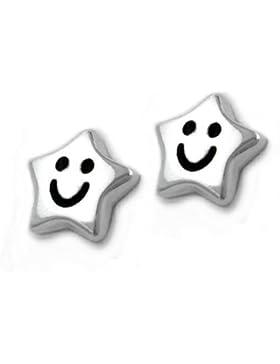 Unbespielt Schmuck Ohrschmuck Kinder Ohrringe Ohrstecker Stern mit Gesicht aus 925 Silber 6 mm