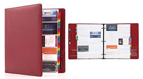 Deluxe PU Leder groß 600 Visitenkarten 3 Ringe Ordnungsmappe Organizer mit Alphabetischem Index - 30 doppelseitige Schutzseiten enthalten rot