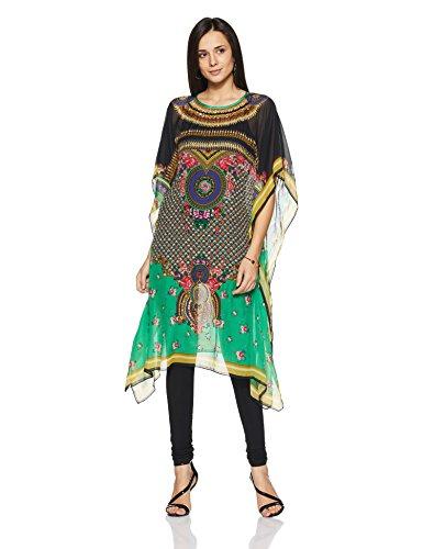 Indian By Manish Arora Women's Silk Flat Chiffon Straight Kurta (FLORASSANCE #...