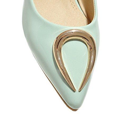 Voguezone009 Femmes Pull Shimmer Chaussures Pointu Fermé Toe Talon Bas Ongles Ballerines Vert