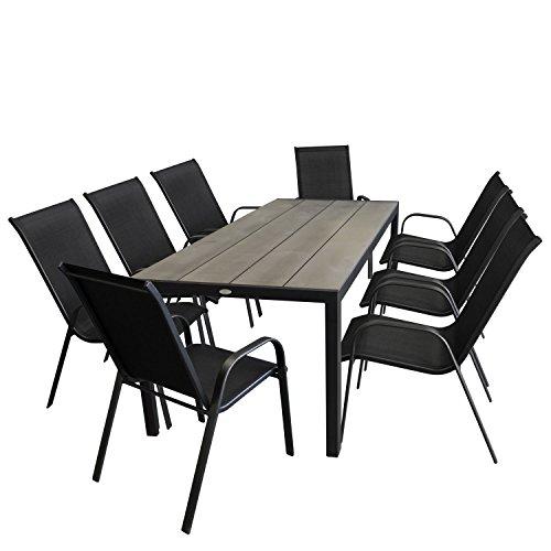 9tlg. Gartensitzgruppe Gartentisch, Aluminiumrahmen schwarz, Polywood Tischplatte grau 205x90cm + 8x Stapelstuhl mit Textilenbespannung schwarz / Sitzgarnitur Sitzgruppe Gartengarnitur