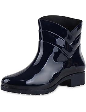 Regenschuhe Damen | Gummistiefel mit Block Absatz | Chelsea Boots | Gr. 36-41