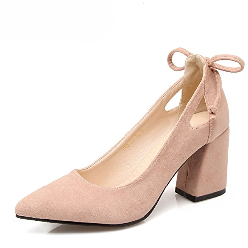 516ba276416c Women Pumps Thick Heel Female Shoes Pointed Toe High Heels Bow Ladies Party  Shoes Slip ...