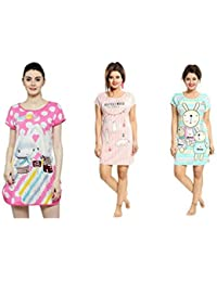 icw Women's Cotton Hosiery Short Nighty (Large, Print or Colour May Vary) - Set of 3