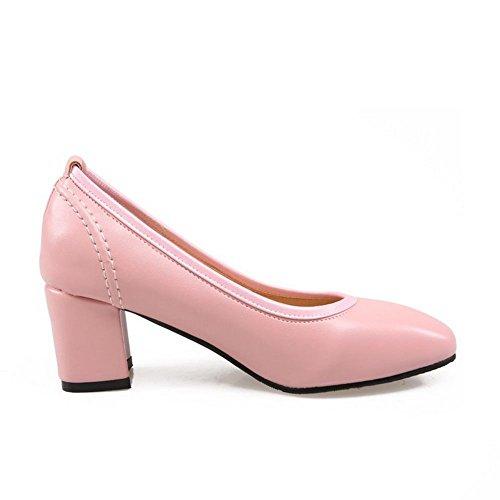 Voguezone009 Sapatos Puxar Rosa Dedo No Couro Quadrado Do Pé Pura Salto Senhoras Pu Médio Bombas rr7Oqx5R