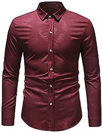 BUSIM Men's Long Sleeved Shirt Autumn Winter Fashion Casual Slim Retro Cashew Fruit Paisley Pattern Dark Print... - B07H9B6JS8