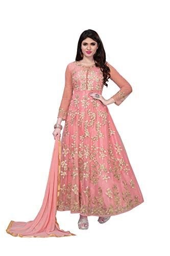 Royal Export Women's Net Dress Material (sonam-Pink-salwar suit_Pink_Free Size)