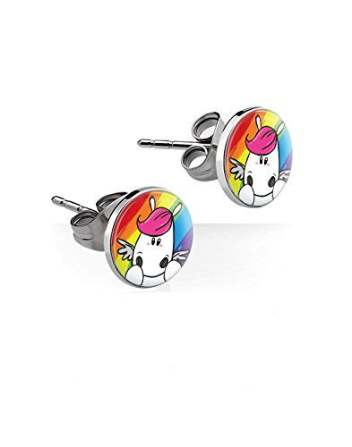 réf157Bo. 917–Ohrringe Chirurgenstahl–Chips Einhorn Regenbogen