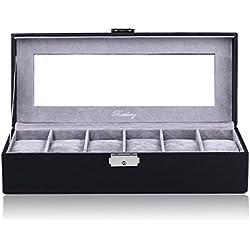 ROWLING Uhrenbox für 6 Uhren Uhrenkasten Uhrenschatulle Schaukasten Schmuckkästchen Schwarz