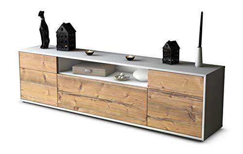 Stil.Zeit TV Schrank Lowboard Bernadetta, Korpus in Weiss Matt/Front im Holz-Design Pinie (180x49x35cm), mit Push-to-Open Technik und Hochwertigen Leichtlaufschienen, Made in Germany