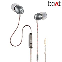 BassHeads 300 In-Ear Super Extra Bass Headphones with One Button Mic (Silver).