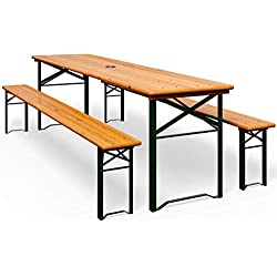 Ensemble Table bancs Bois Pliant Meuble de Jardin 3 Pieces terasse Fete Pliable
