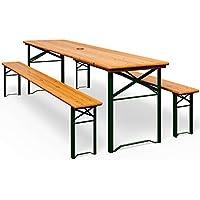 Deuba Bierzeltgarnitur Gartenmöbel-Set | Klappbar | schnell aufgebaut | 2x Bierbänke 1x Biertisch | Festzeltgarnitur Biertisch Sitzgarnitur