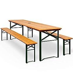Deuba Bierzeltgarnitur Gartenmöbel-Set | Klappbar | 170 x 46 x 75cm | 2x Bierbänke 1x Biertisch | Festzeltgarnitur Biertisch Sitzgarnitur