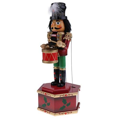 Homyl 32cm Nussknacker Figur Spieldose Spieluhr Musikdose für Weihnachten Dekoration - B (Weihnachten Nussknacker Dekoration)