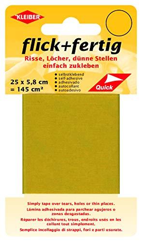 Kleiber 43087 Flick + fertig Selbstklebender Nylon Ausbesserungsflicken, 100% Polyamid, gelb, 25 x 5,8 x 0,02 cm , (145 cm²)