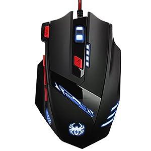 [Neue Version] Oria Gaming Maus, Optisch 9200 DPI PC Gamer Maus mit DPI, Gewichten und RGB Beleuchtung, Ergonomisch USB Wired Gaming Mouse mit 9 Tasten Feuer für Pro Gamer, Windows 7/8/10, etc
