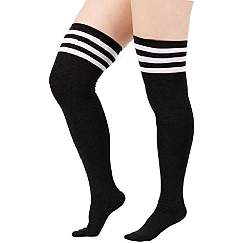 zando Mujer Cute Triple diseño de rayas Durable algodón por encima de la rodilla muslo calcetines de alta