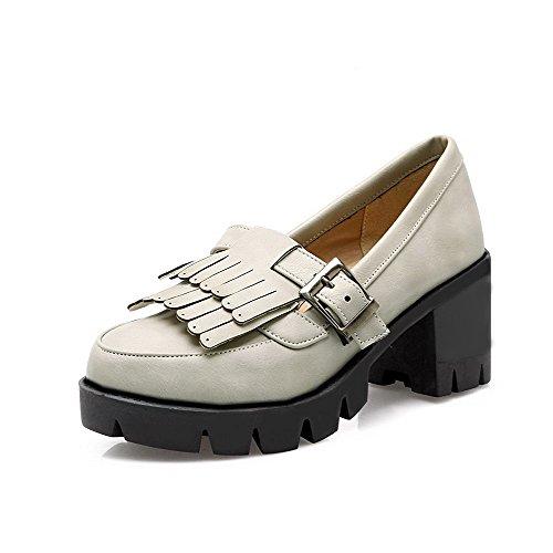 AllhqFashion Femme Couleur Unie Pu Cuir à Talon Correct Rond Boucle Chaussures Légeres Gris