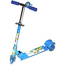 Fusine 3 Light up Wheeled Metal Folding Skate Scooter with Shock Absorbers, Height Adjustable Handlebar and Bell (Blue)