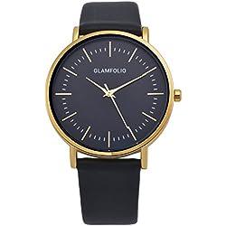 Glamfolio Herren Armbanduhr Goldene Klassisch Quarz Leder Schwarz