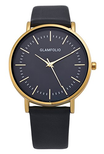 Glamfolio Men's Black and Gold Watches Quartz Analog Black Calf Leather Band Big Face Watches for Men