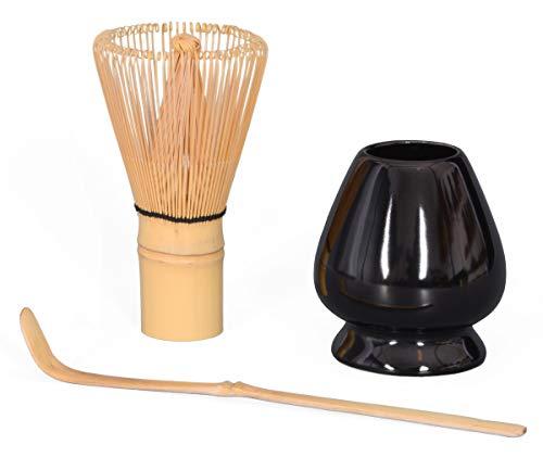 Set 3Piezas para matcha, Té Matcha bambú escoba con cerdas 100/Matcha Chasen/Soporte Para escoba (Negro de cuchara de bambú (Original, Aricola®