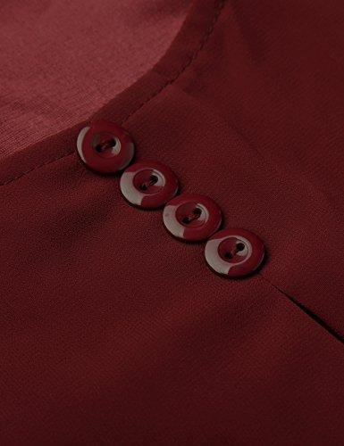 WAJAT Damen New Mode Langarmshirts Rund-Ausschnitt Einfarbig Bluse Locker Basic Casual T-Shirt Oberteil Rot