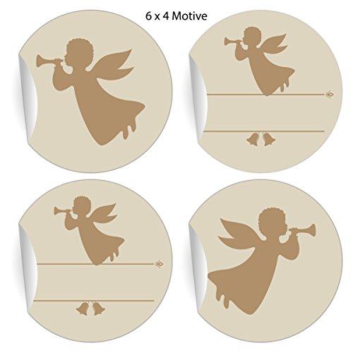 (24 Retro Engel Aufkleber zu Weihnachten auch zum Beschriften mit Trompeten Engel, beige, MATTE universal Papieraufkleber für Geschenke, Etiketten für Tischdeko, Pakete, Briefe und mehr (ø 45mm)