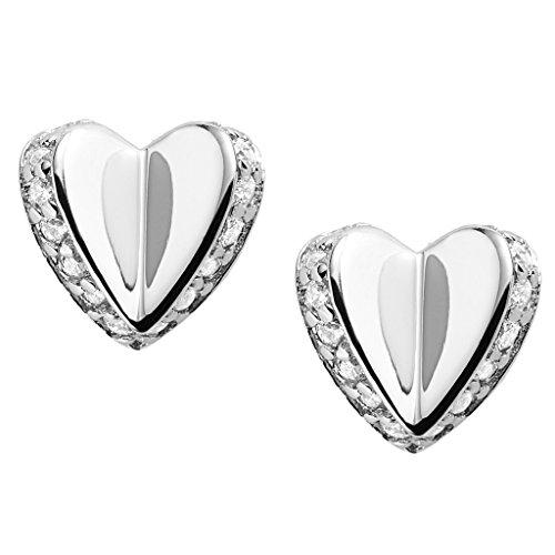 Fossil Ohrringe JFS00423040 Damen Ohrstecker Herz Sterling-Silber 925 Silber Weiß Zirkonia