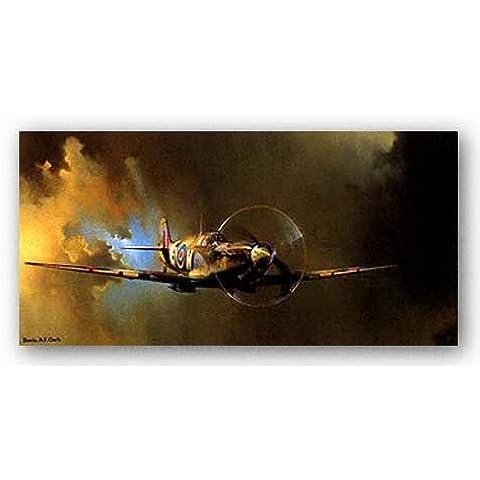 First Art Source - Póster, diseño de caza británico Spitfire de Barrie Clark (45,7 x 91,4 cm)
