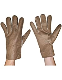Mens Warm & Weatherproof Insulated Suede Gloves with Faux-Fur Lining