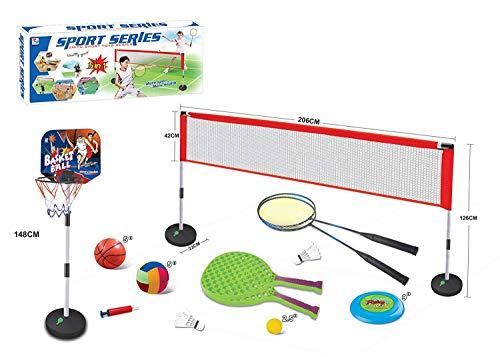 DOMINITI XXL Sport Set mit Volleyball, Basketballkorb, Frisbee, Badminton für Garten Urlaub Freizeit Sommer Spielzeug Fußball Camping campen Ausflug Spielen Netz Kinder Spiel ab 3 Jahren