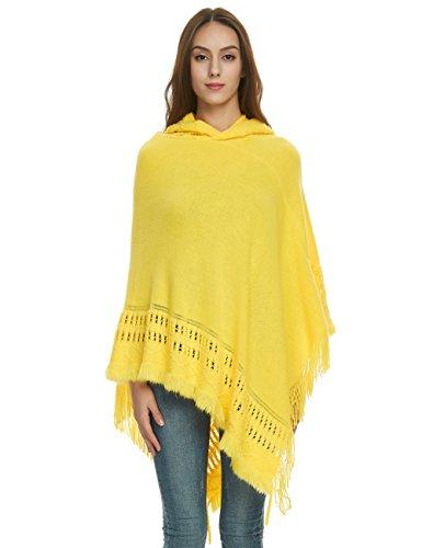Ferand Damen Kapuzen Poncho mit Häkelborde, Cape für Frauen aus Strickmaterial mit Zierfransen, Gelb