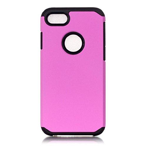 Koly De alta calidad PC + TPU caso de la cubierta de piel para el iPhone 7 Plus de 5.5 pulgadas,rosado