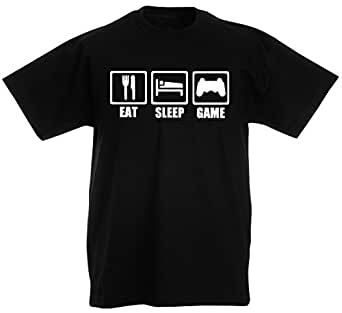Eat Sleep Game - mens funny gaming t-shirts, gamer t shirts / gift ideas for men (Small, Black)