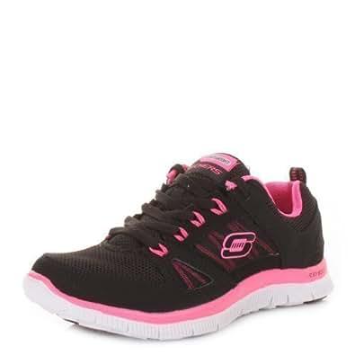 Skechers Flex Appeal Spring Fever Black Pink Shoes SIZE 6