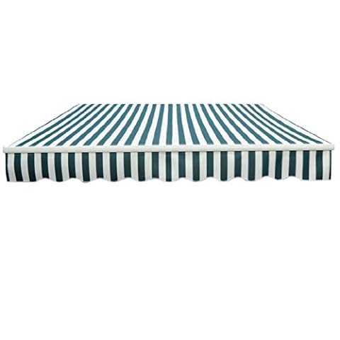 Greenbay 4x3m Garden Awning Replacement Fabric Top Cover Front Valance (Green-White)