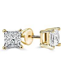 1 1/2 CTW Princess Cut Diamond Stud Earrings in 14K Yellow Gold with Screw Backs (SI1-SI2)