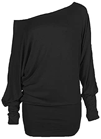 Hot Hanger Womens Plus Size Long Sleeve Off Shoulder Batwing Top 16-28 : Color - Black : Size - 16-18 LXL