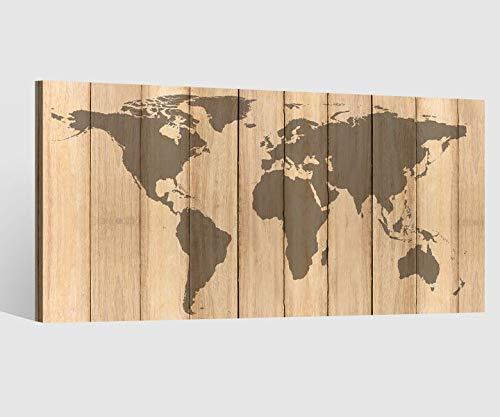 Leinwandbild Leinwand Karte Welt Weltkarte Holz effekt braun Landkarte Afrika map alt Bild Bilder Wandbild Holz Leinwandbilder Kunstdruck vom Hersteller 9AB635, Leinwand Größe 1:80x40cm