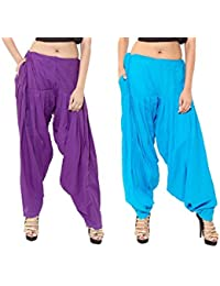 Kurti Studio Women Purple LightBlue Premium Patiala Salwar Combo of 2