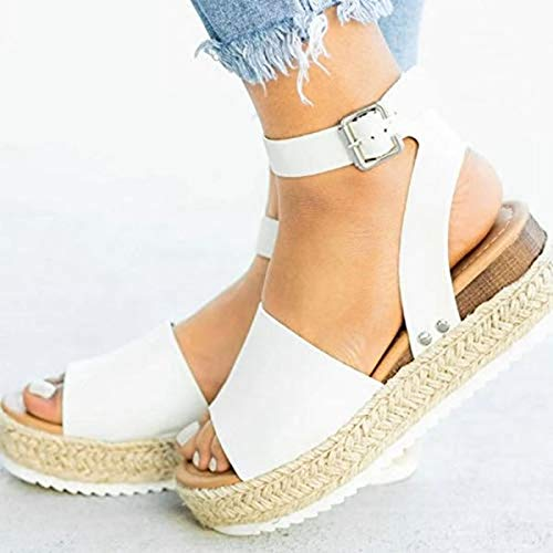 Large Size Leopard Sandals Female European and American Thick Bottom Hemp Braided Belt Ladies Sandals White 41