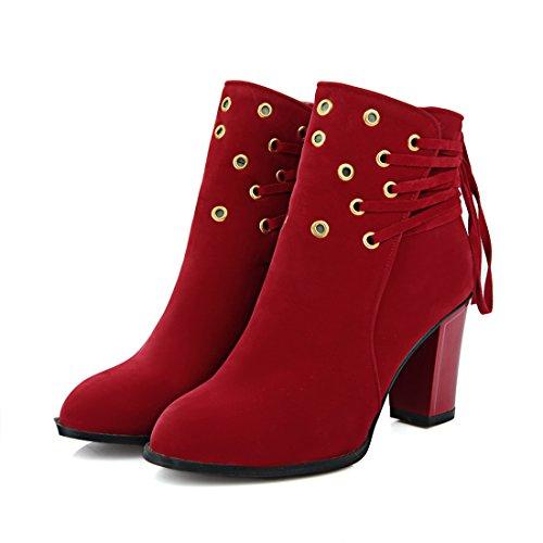 pour Chaussures de Talons Suede Lhiver Pointu à Lacet Bottines Rouge Bloc Cheville avec et Creux Femmes UH Bout 5wqIZZ