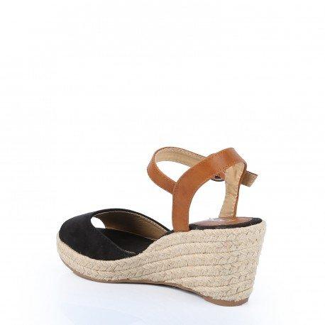 Ideal Shoes - Sandales compensées au toucher doux Kristen Noir