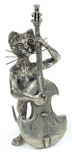 Chat Contrebasse Miniature - Etain 95,5% - Fabriqué en France - Objet déco - Cadeau musique