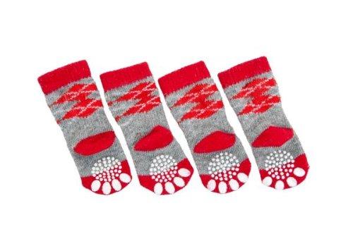karlie-doggy-socks-hundesocken-4er-set-rot-grau-l
