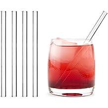 HALM Glas Strohhalme Wiederverwendbar Trinkhalm - 4 Stück kurz gerade 15 cm + plastikfreie Reinigungsbürste - Spülmaschinenfest - Nachhaltig - Glastrinkhalme Glasstrohhalme für Tumbler Cocktailgläser