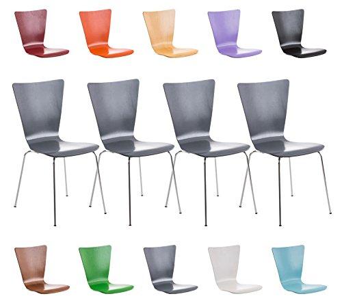 CLP 4 x Stapel-Stuhl AARON, Holzsitz, ergonomisch geformter Sitzfläche, FARBWAHL grau